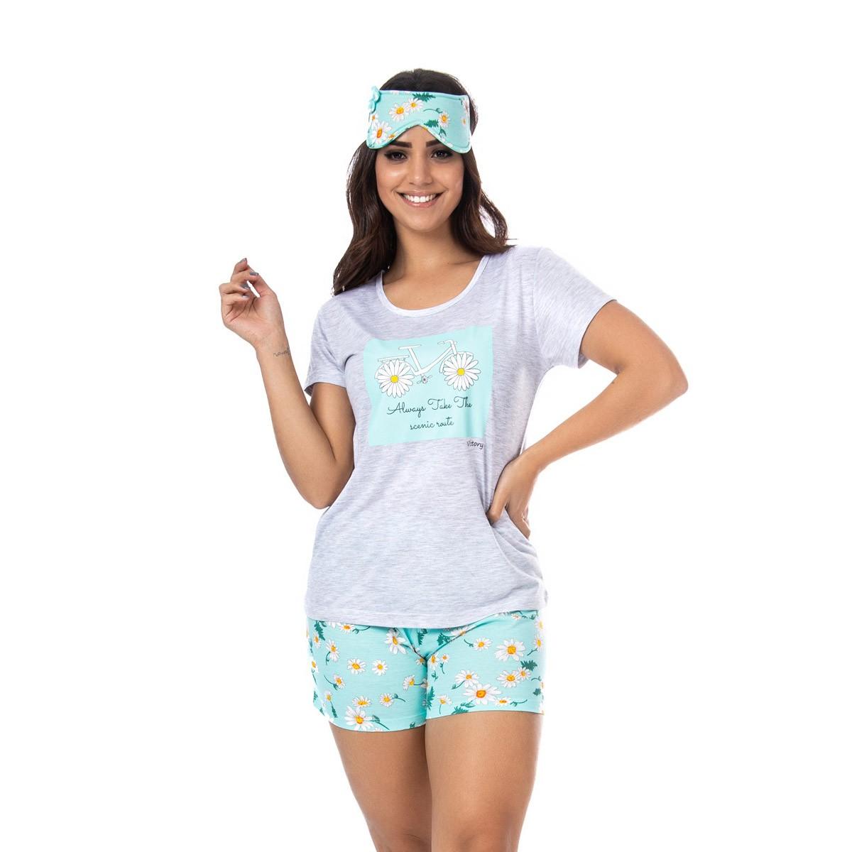 Pijama feminino camiseta manga curta e short doll para o verão Victory