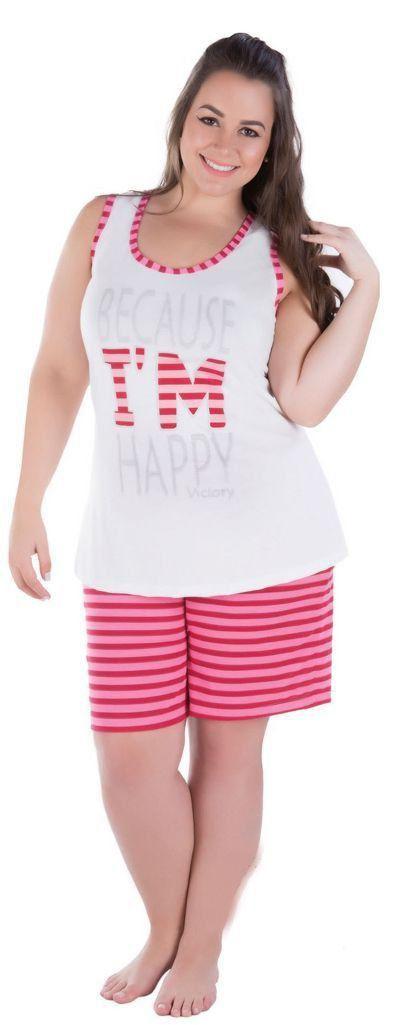 Pijama feminino curto plus size victory