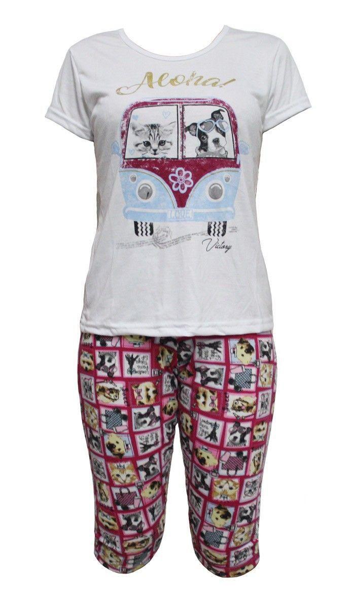 Pijama feminino curto verão calor bermudoll Victory