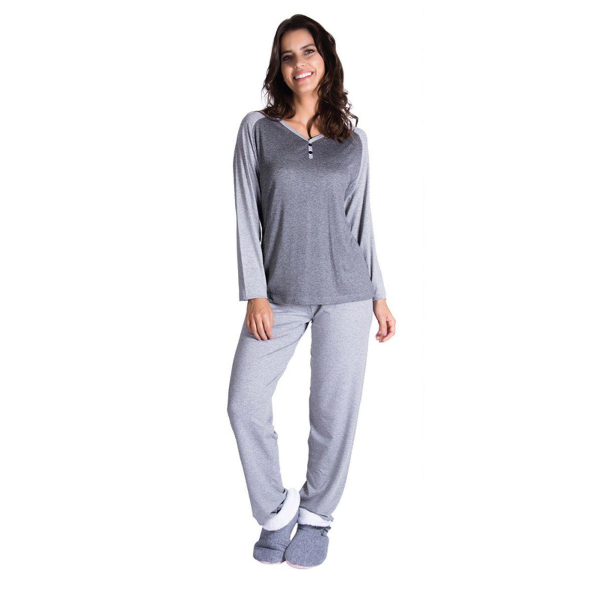 87235cee62bfa4 Pijama feminino de inverno com botões em viscolycra Victory