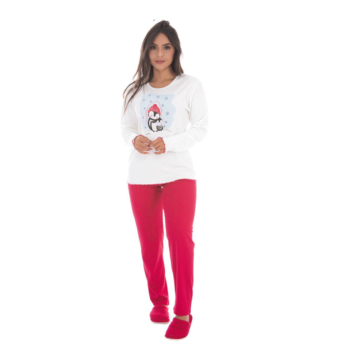 Pijama feminino de inverno peluciado DENGOSO Victory
