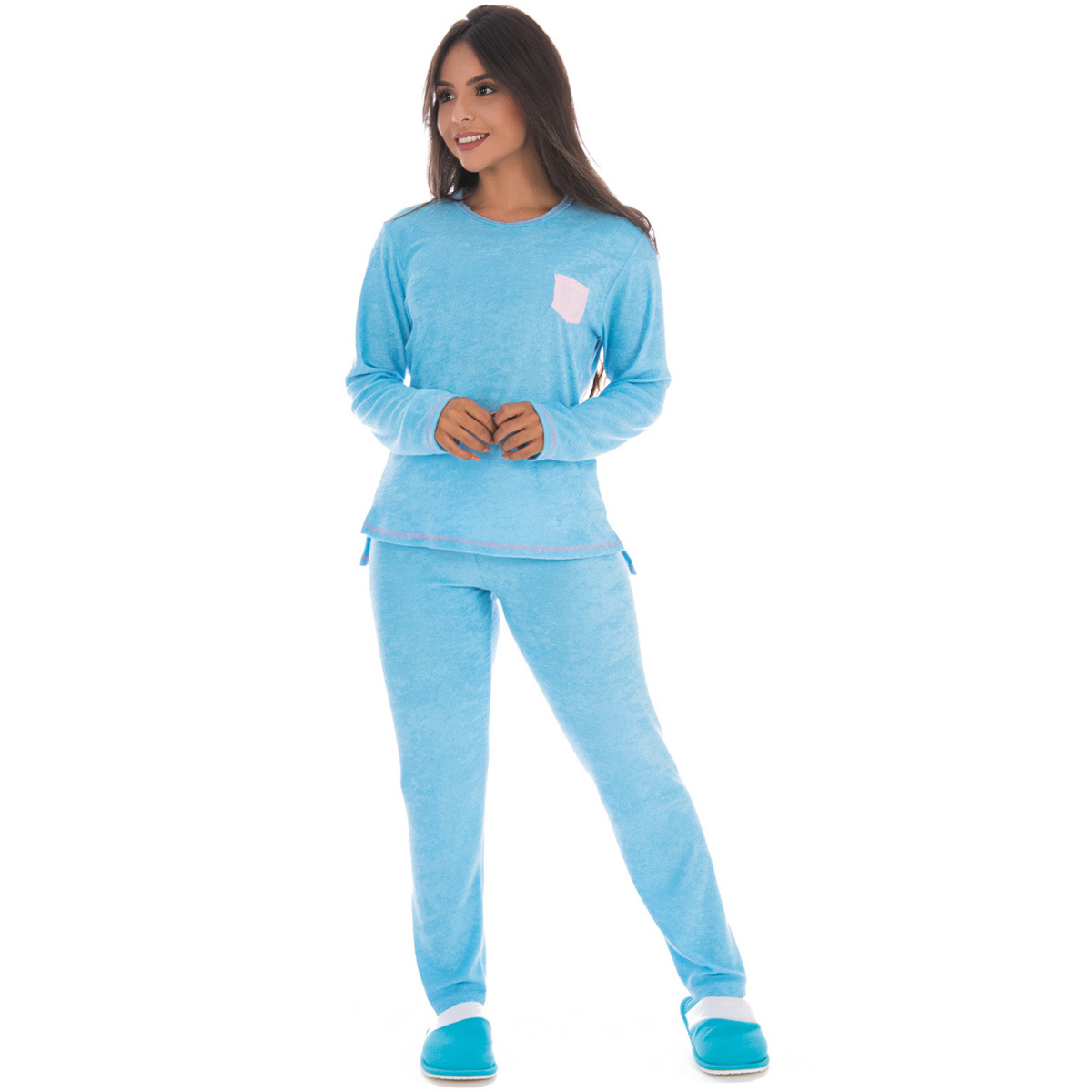Pijama feminino de inverno plush BOLSINHO Victory