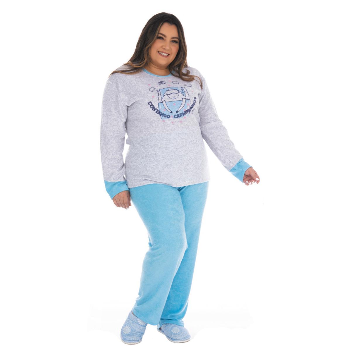 Pijama feminino de inverno plush PLUS SIZE SOPHIA Victory