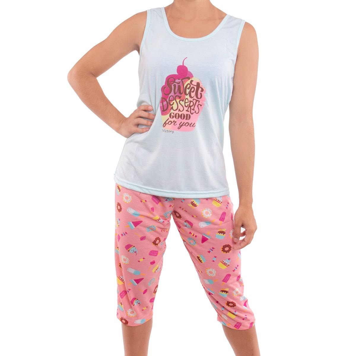 Pijama feminino de verão pescador Victory