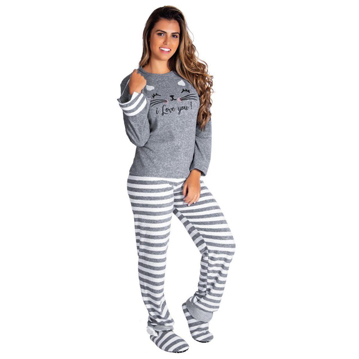 Pijama feminino estampado de inverno plush Victory