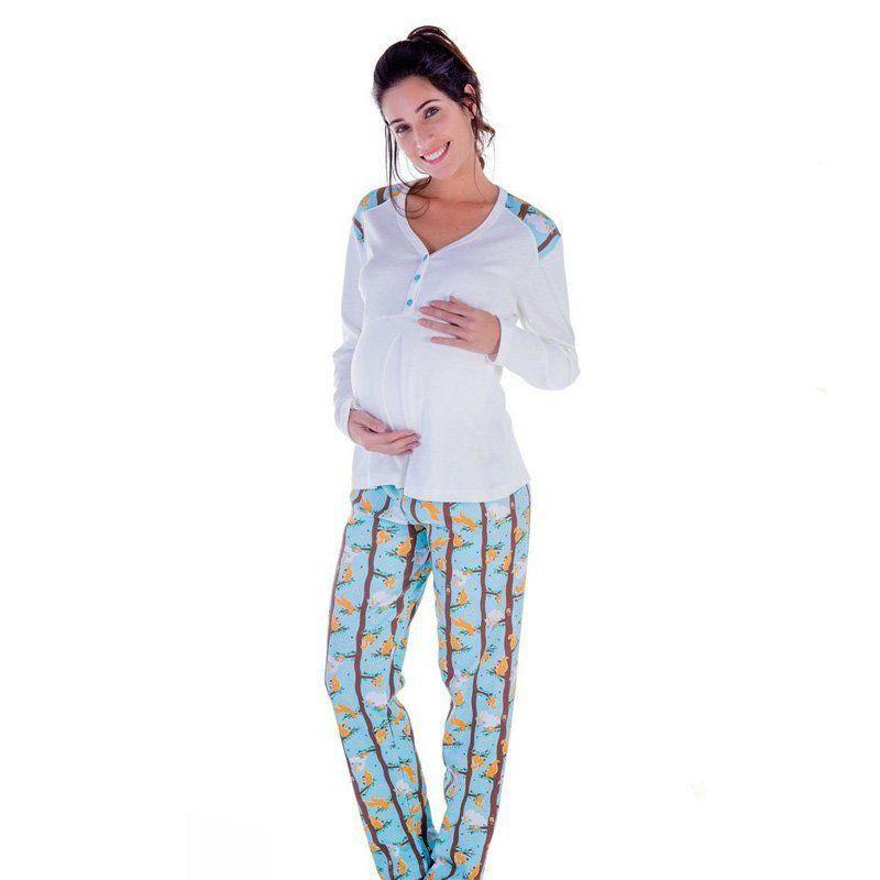 eb344274016486 Pijama feminino inverno frio longo gestante mamãe roupa dormir adulto  Victory