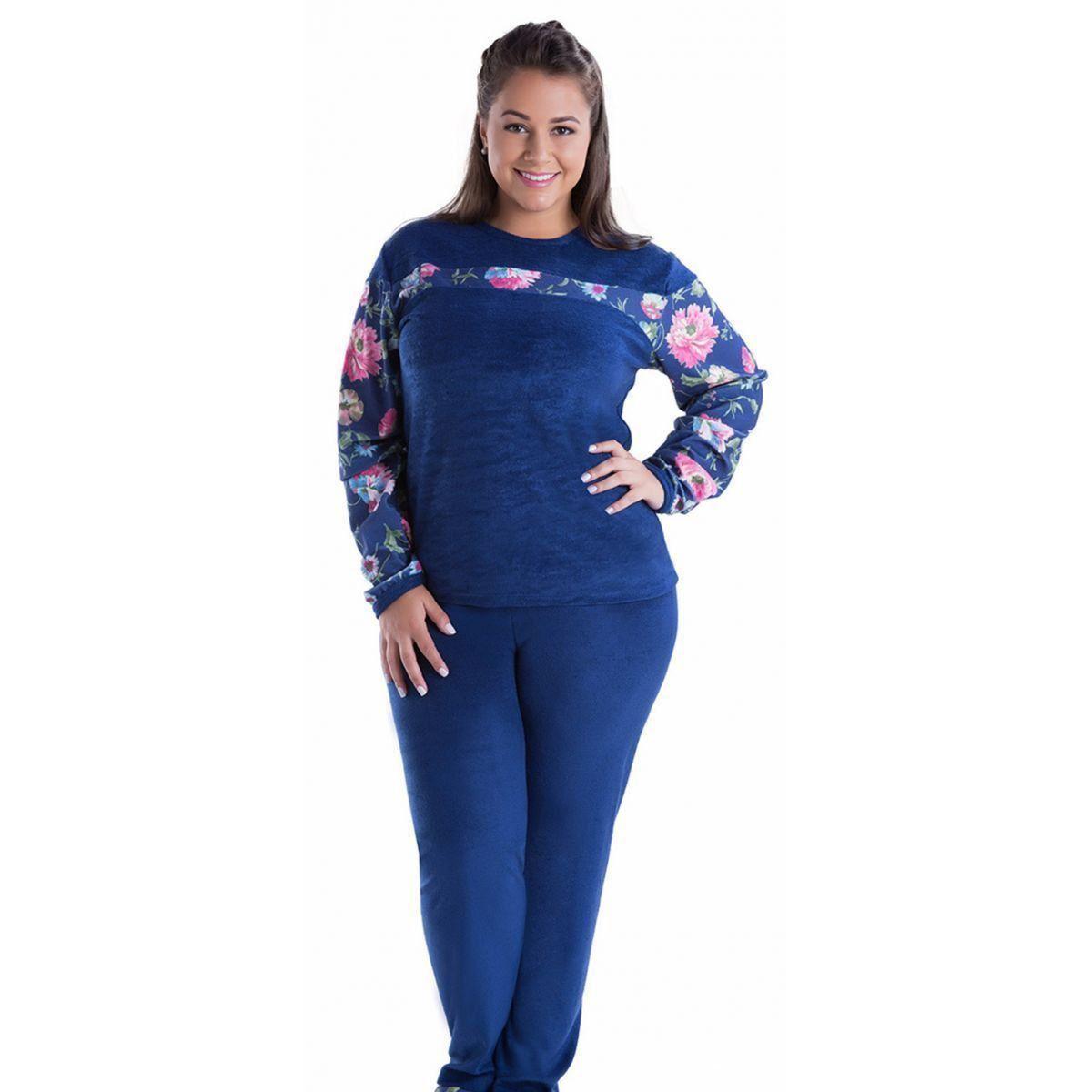 Pijama feminino inverno frio longo Plus size Victory