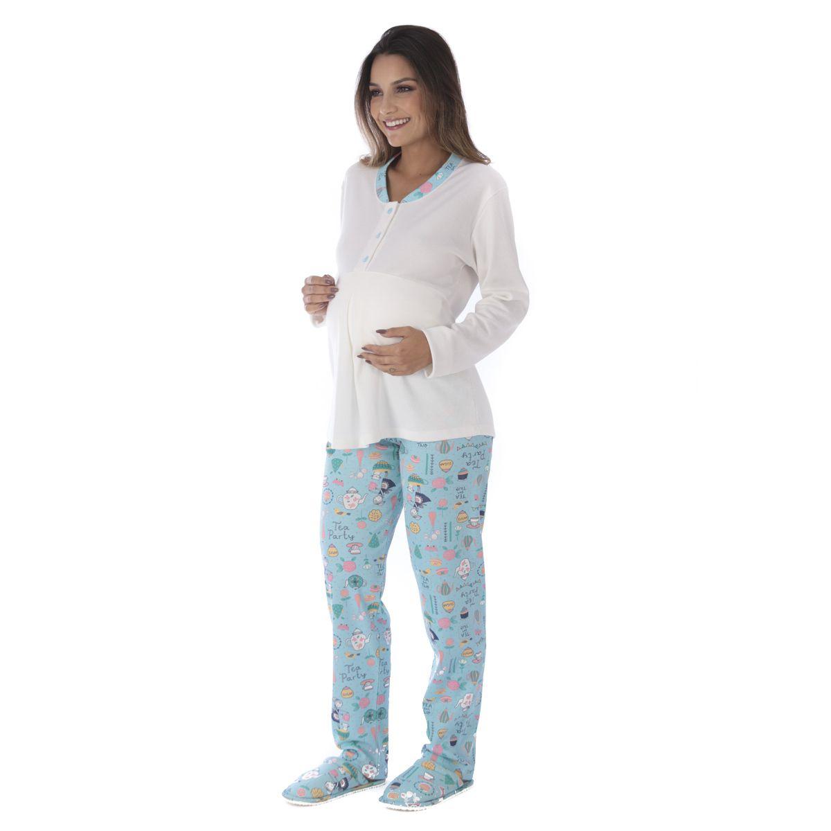 Pijama feminino inverno gestante ESPECIAL Victory