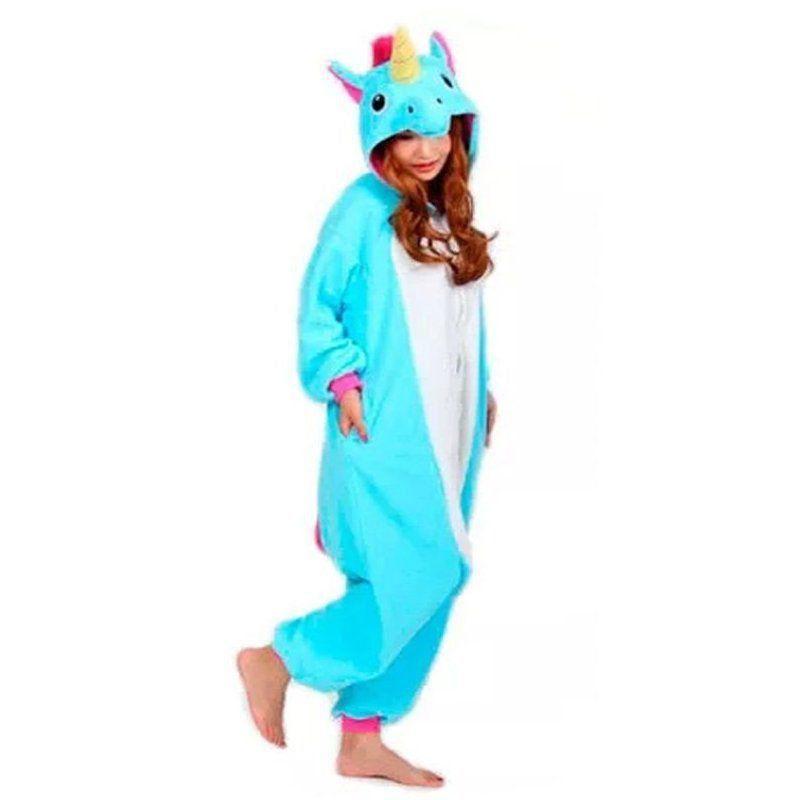Pijama feminino kigurumi de unicornio de inverno
