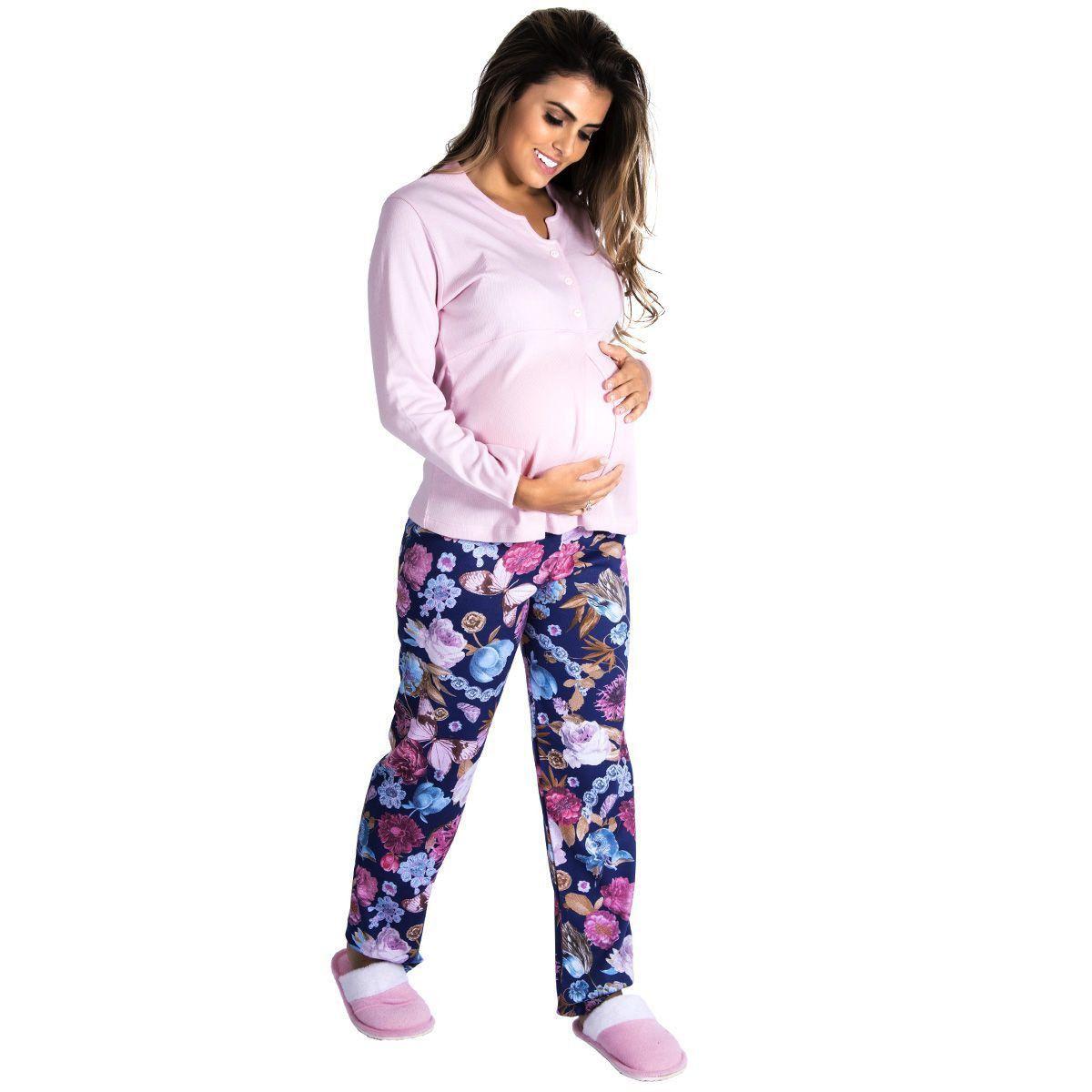 Pijama Feminino Longo Gestante Adulto Victory