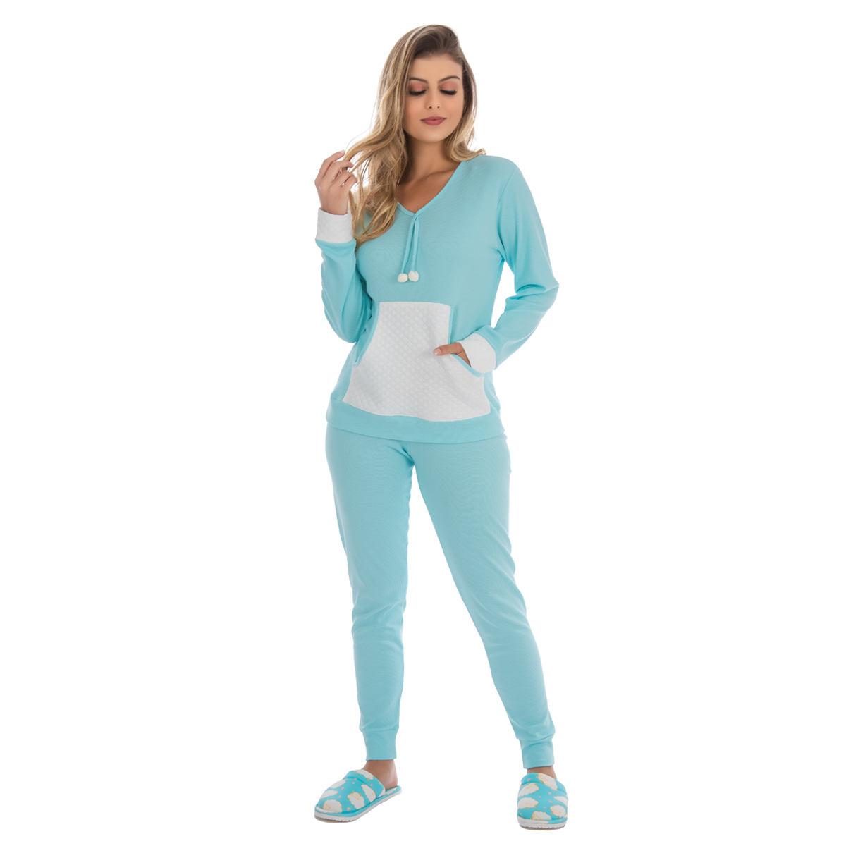 Pijama feminino para o inverno KANGURU POM-POM Victory
