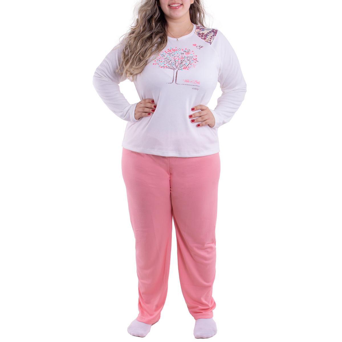 Pijama feminino para o inverno plus size TRADICIONAL Victory