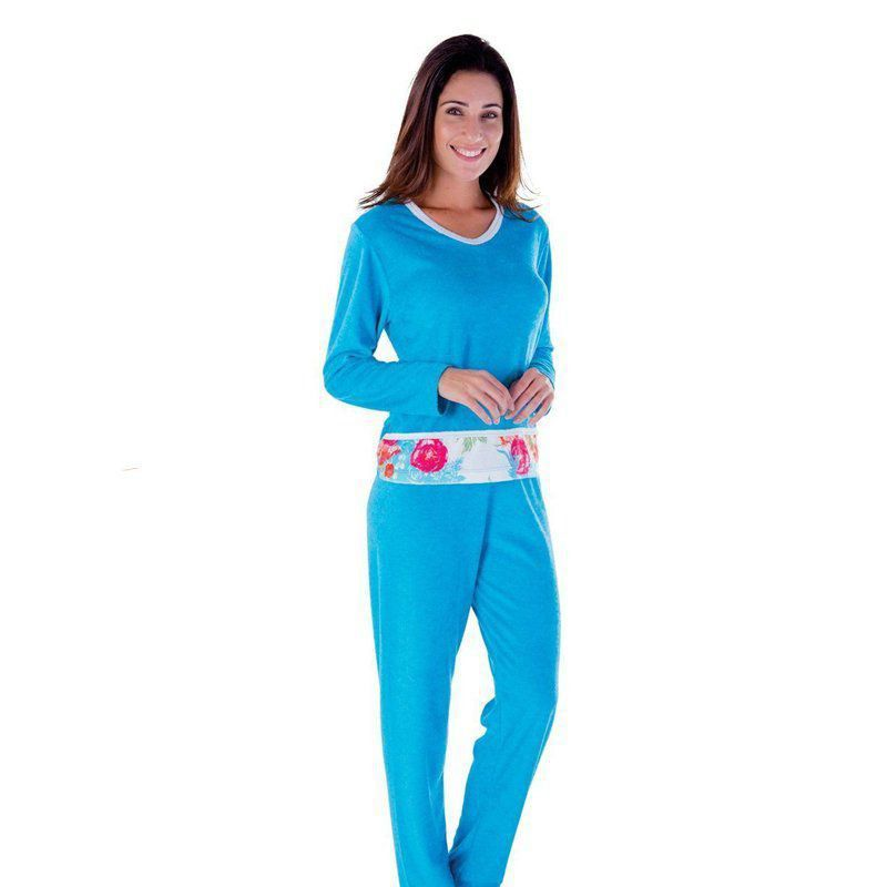 Pijama feminino Longo em plush - Pijama de frio adulto da marca Victory