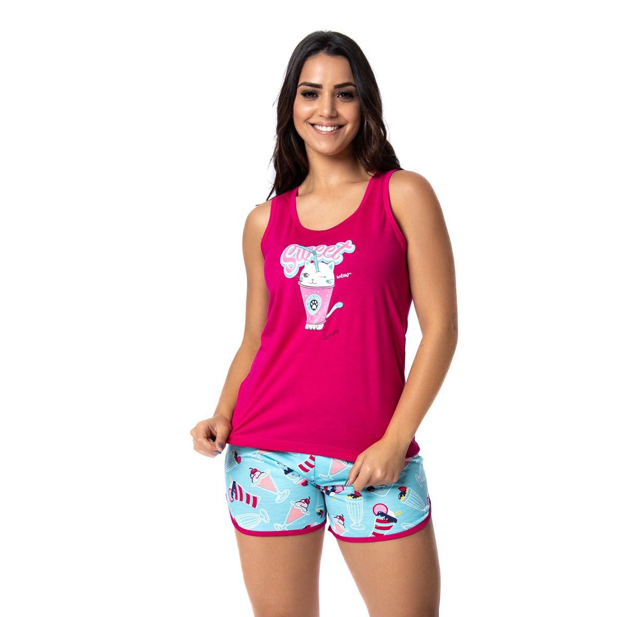 Pijama feminino regata nadador e short doll para o verão Victory