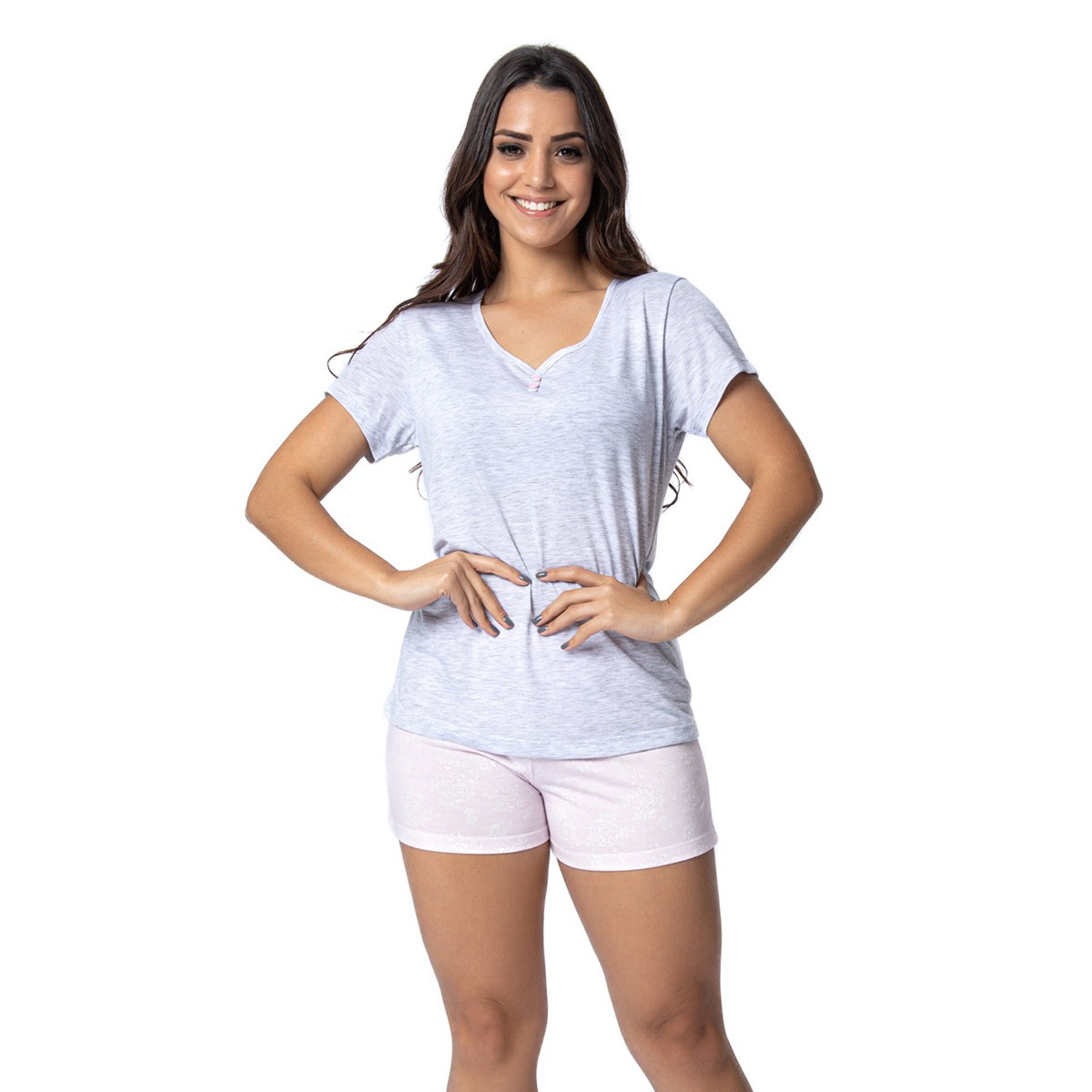 Pijama feminino short doll e camiseta manga curta para o verão Victory