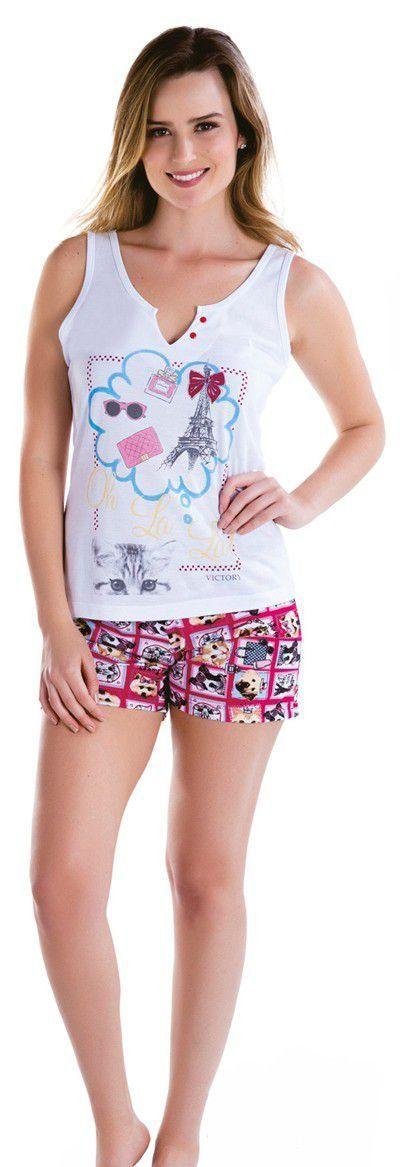 Pijama feminino short doll verão curto feminino Victory
