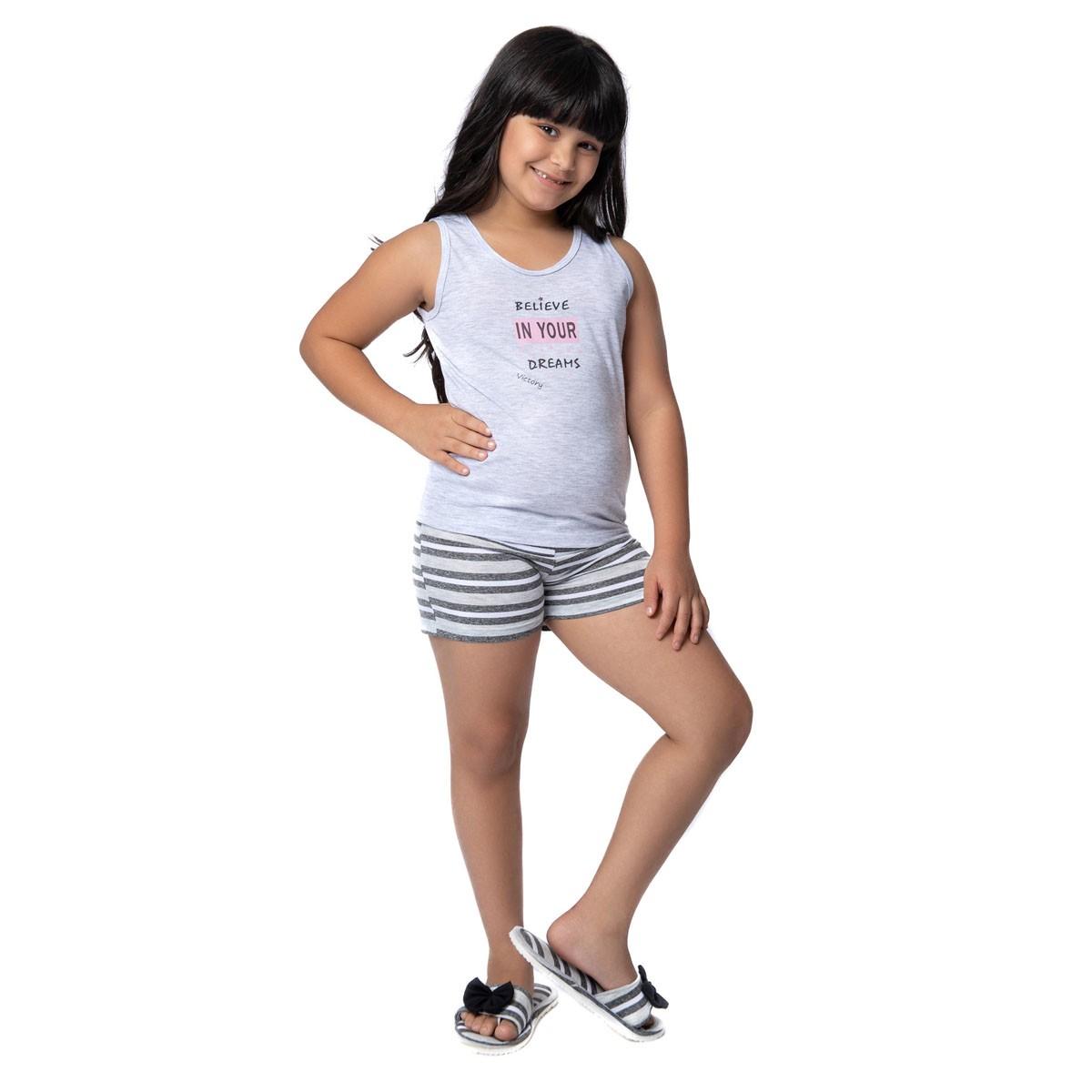Pijama infantil de verão para menina coleção família Victory
