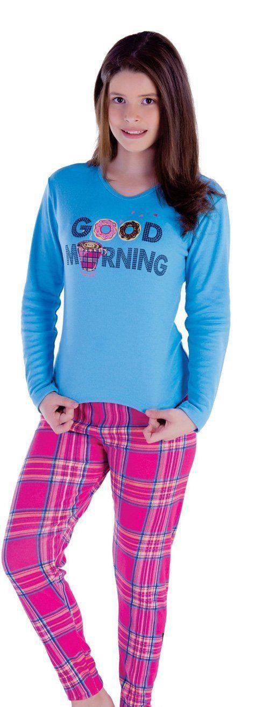 Pijama infantil inverno frio longo feminino Victory