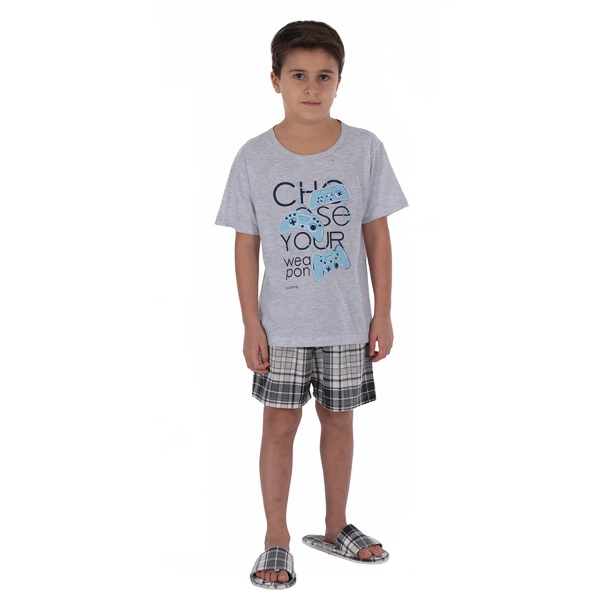 Pijama infantil para menino de verão manga curta XADREZ Victory