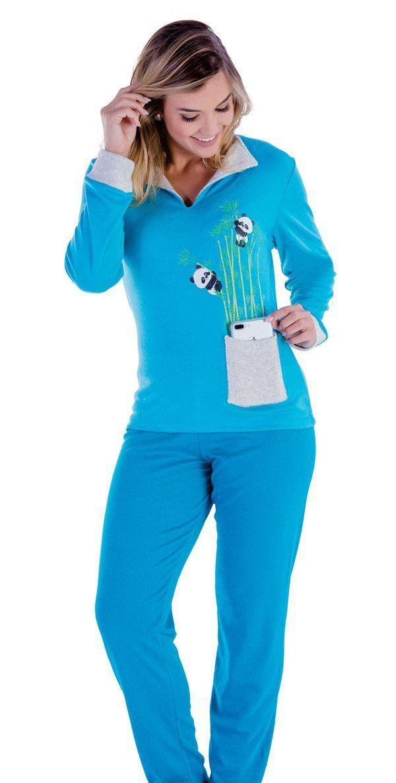 Pijama inverno frio longo adulto feminino Victory