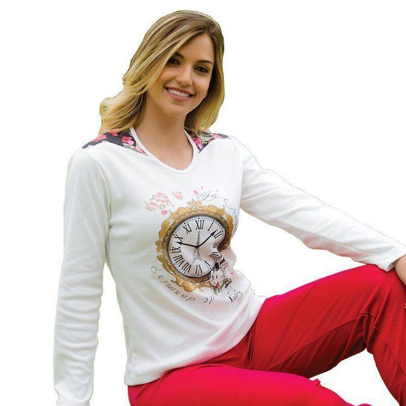 Pijama inverno frio longo canelado adulto feminino Victory