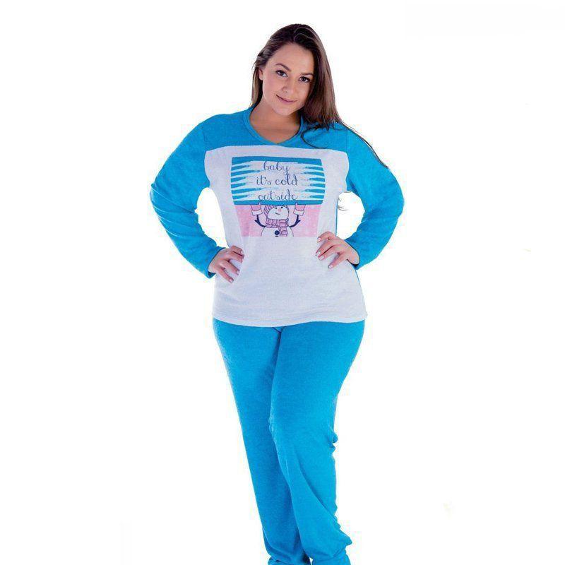 3365c7ecfe45 Pijama inverno frio longo feminino plus size roupa dormir plush Victory -  Bra Lingerie ...