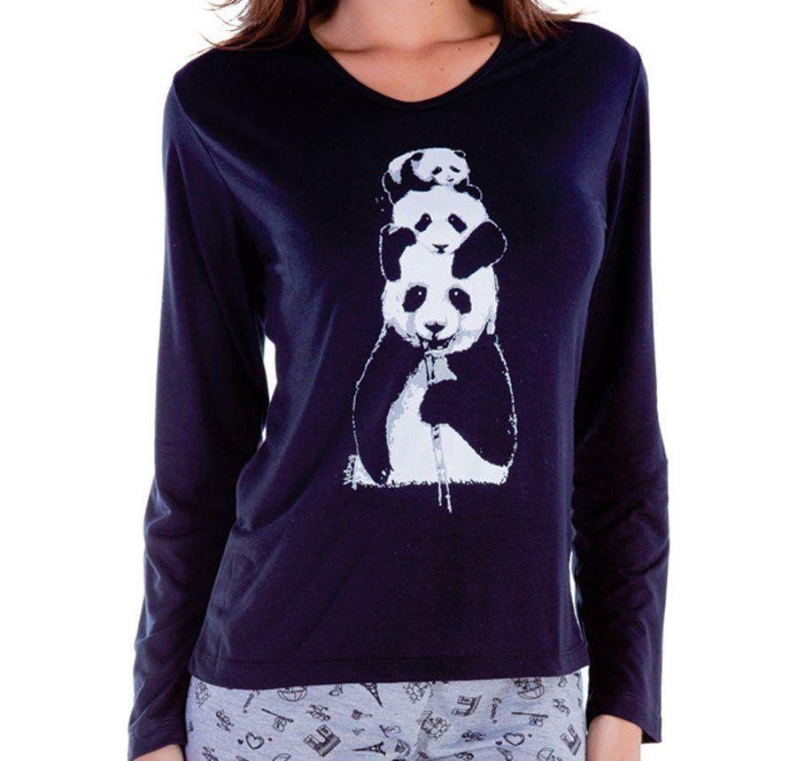 Pijama inverno frio longo malha fria adulto feminino Victory