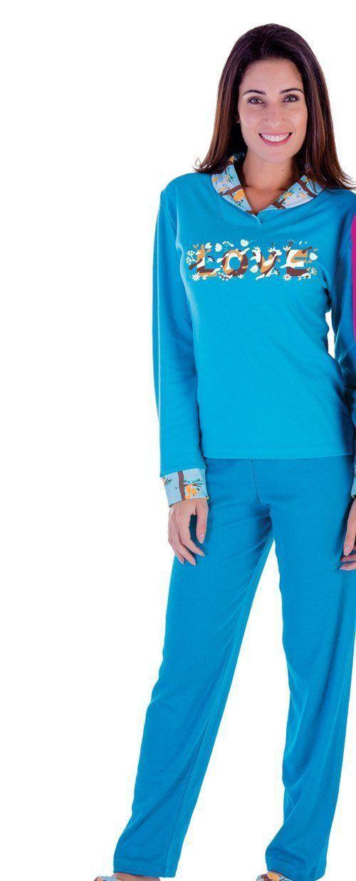 Pijama inverno frio longo peluciado adulto feminino Victory