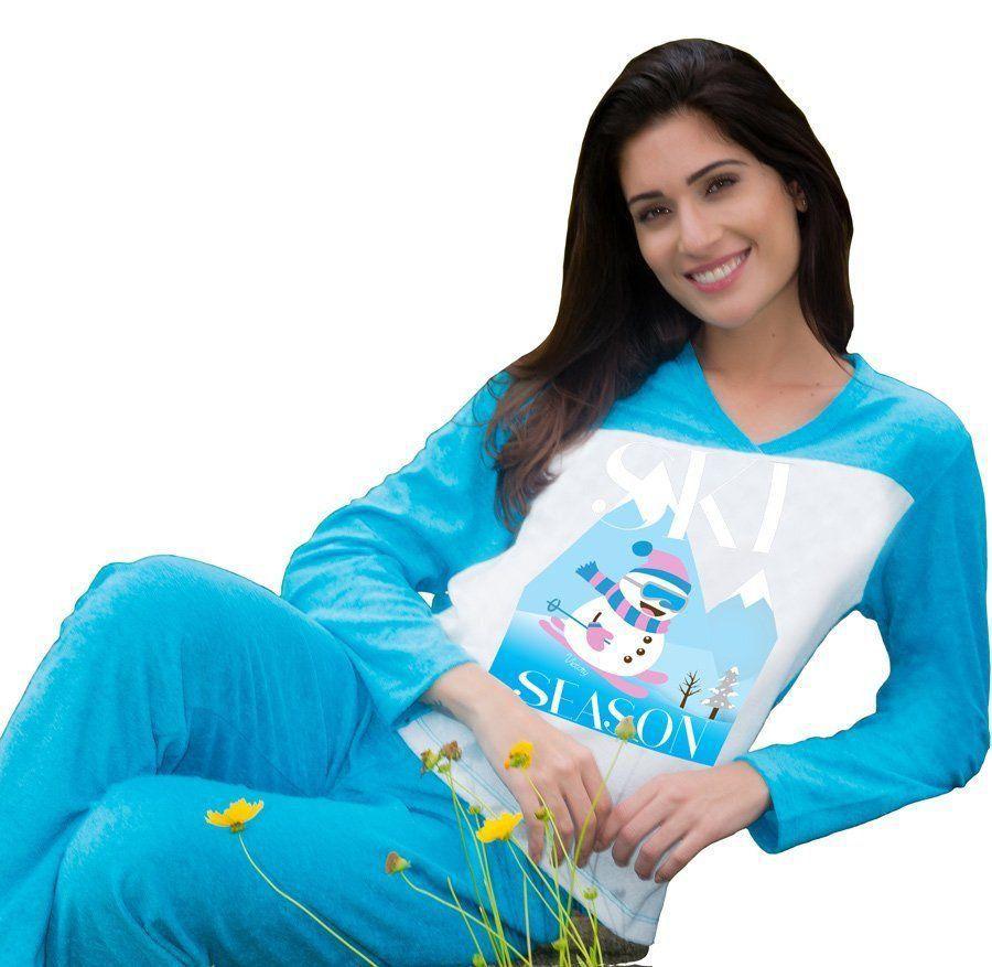 Pijama inverno frio longo plush adulto feminino Victory