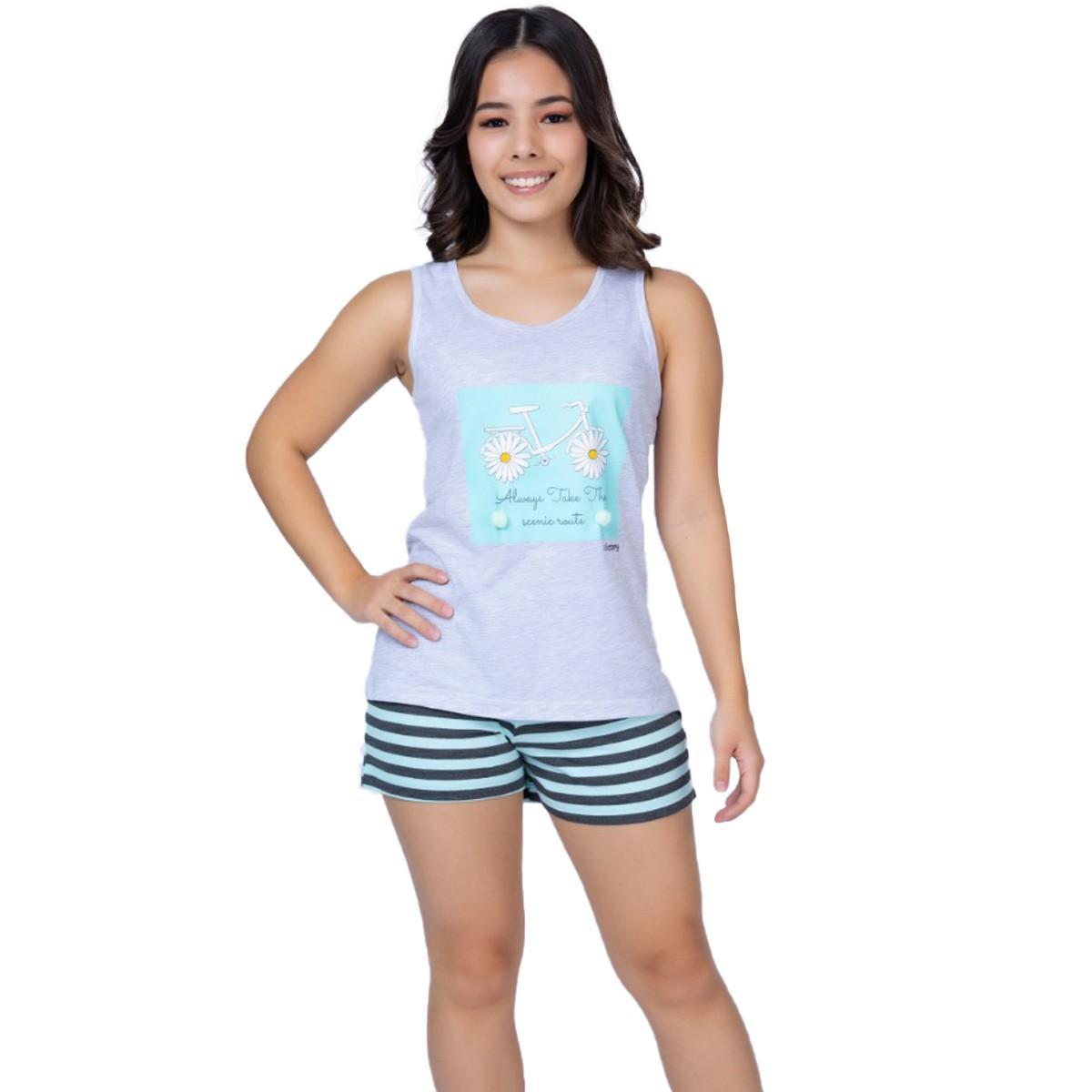 Pijama juvenil para menina de verão com Pompom Victoy