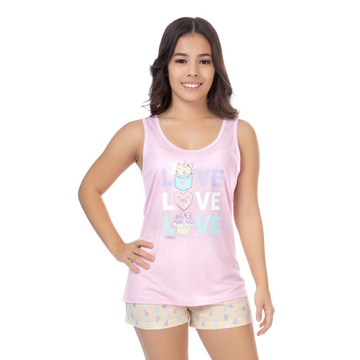 Pijama juvenil para menina de verão short doll Victory