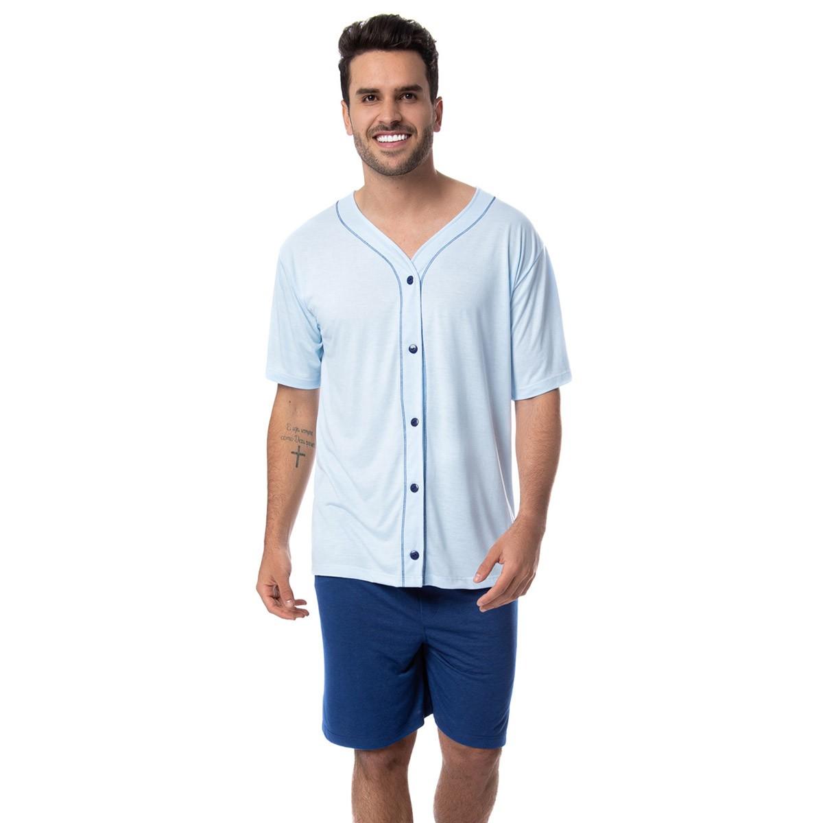 Pijama masculino manga curta com botões para o verão Victory