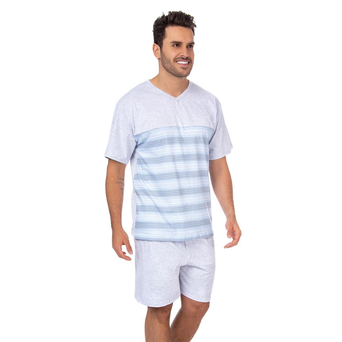 Pijama masculino manga curta e bermuda em algodão Victory