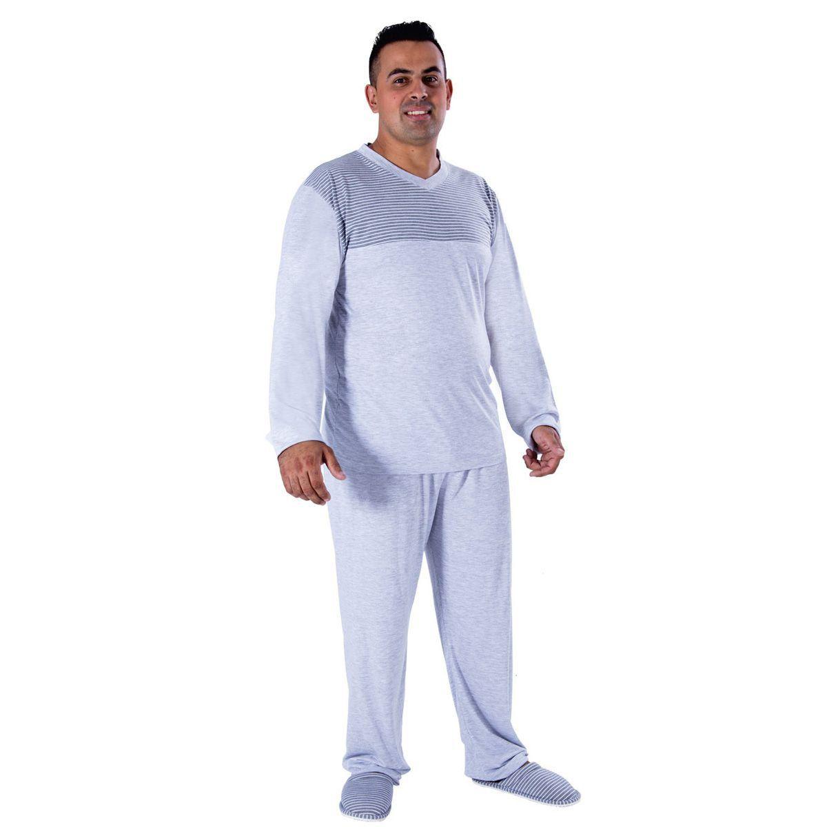 Pijama Masculino Plus size de Inverno com Listras Victory
