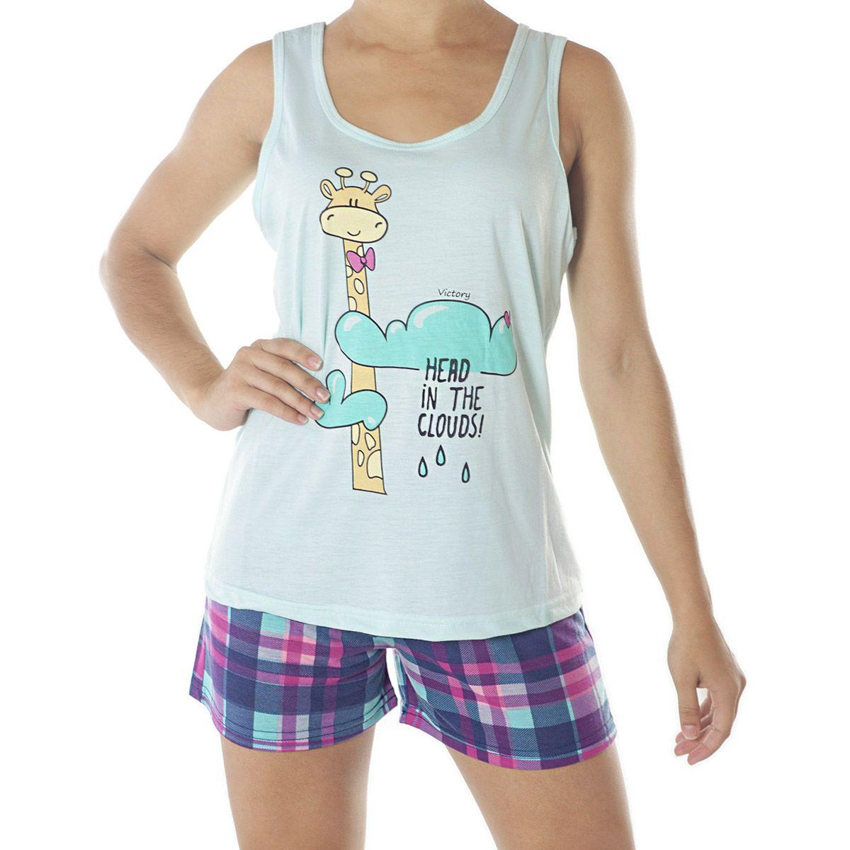 Pijama modelo BELLA short doll e regata feminino de verão da Victory