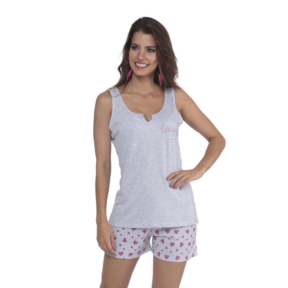 Pijama modelo GLITTER short doll e regata feminino de verão da Victory