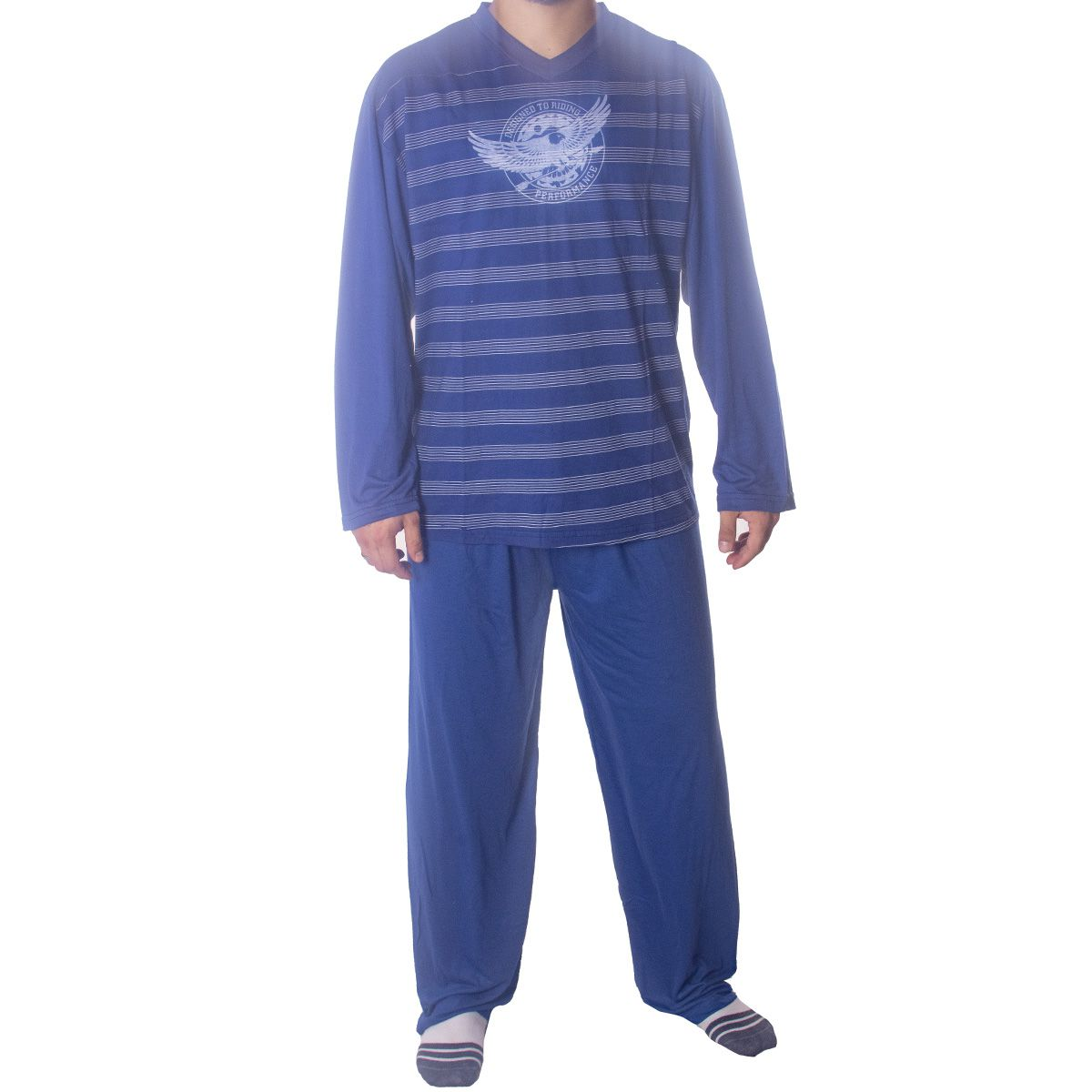 Pijama para o inverno masculino listrado Victory