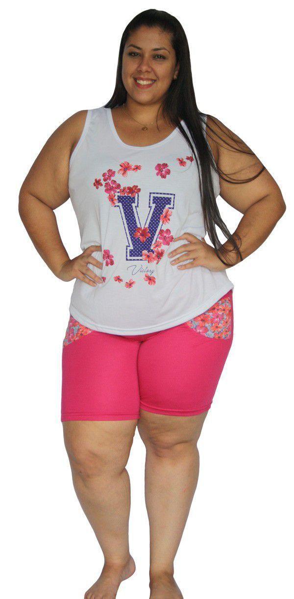 Pijama plus size feminino bermuda calor curto verão Victory