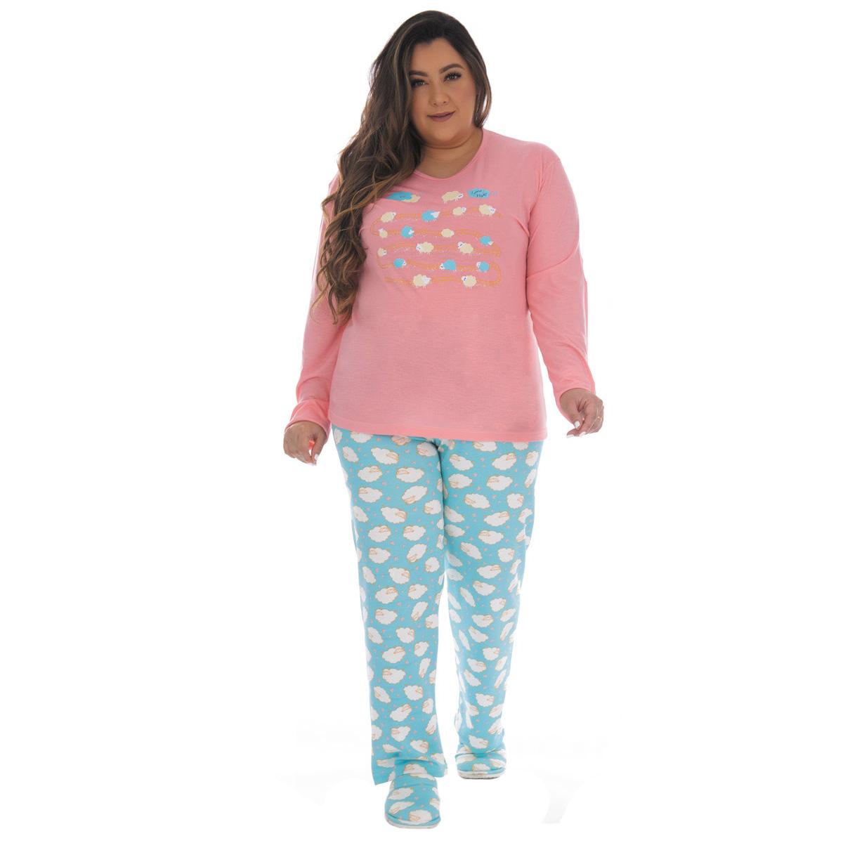 Pijama PLUS SIZE feminino de inverno PV especial Victory