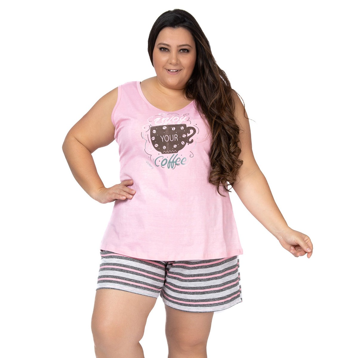 Pijama plus size feminino para o verão short doll e regata Victory