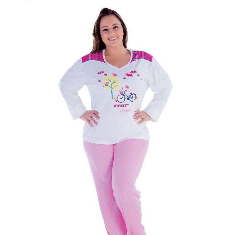 Pijama plus size inverno frio longo canelado adulto feminino Victory