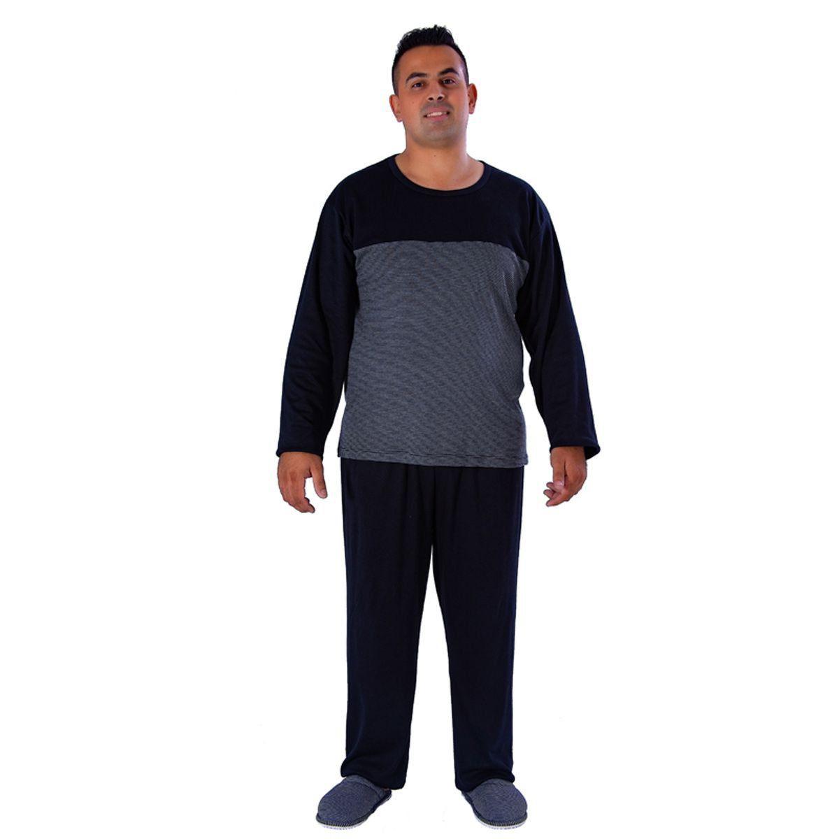 Pijama plus size Masculino Longo de Inverno com Listras Victory