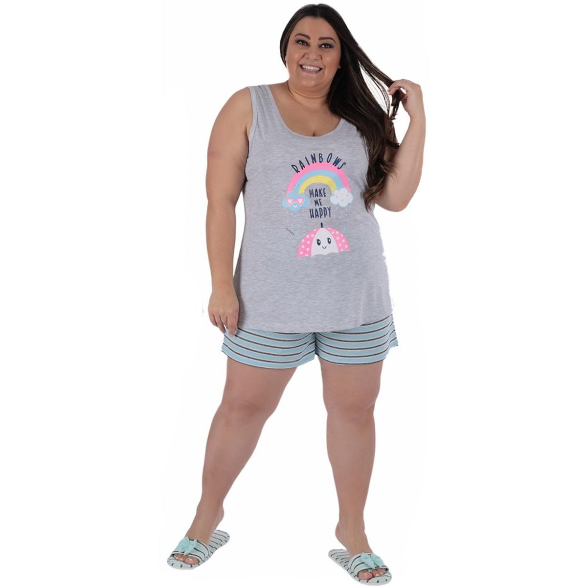 Pijama plus size verão short doll regata feminino Victory