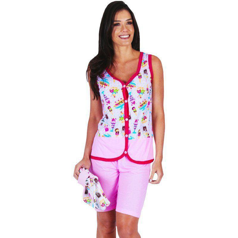 Pijama Verão Feminino Adulto Com Botões Victory