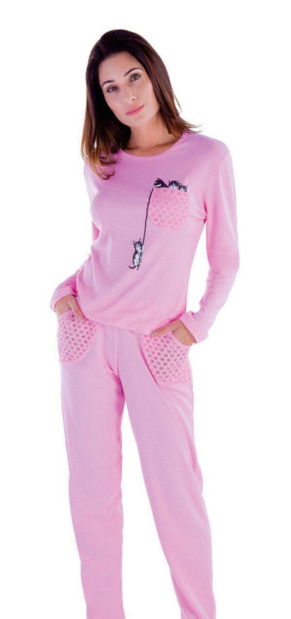 Roupa dormir feminino inverno Pijama frio longo canelado adulto Victory