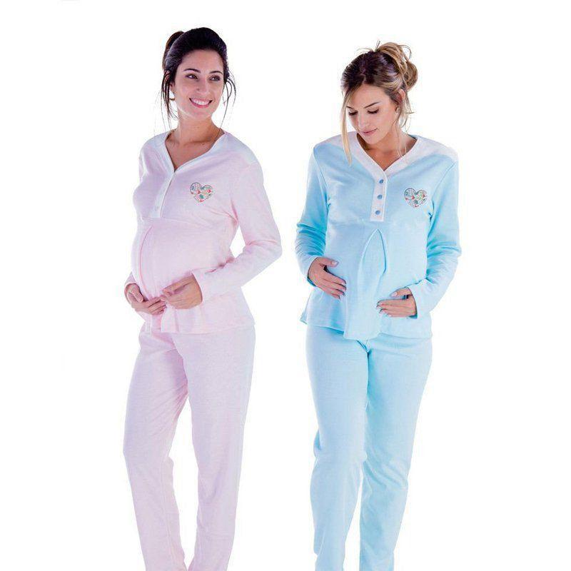 Roupa dormir gestante mamãe Pijama feminino inverno frio longo adulto Victory