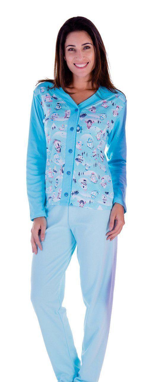 Roupa dormir pijama inverno feminino longo aberto Victory
