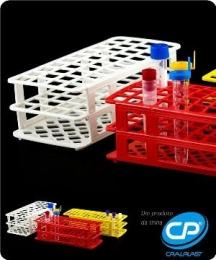 Estante para 40 Tubos de Ensaio 20mm Cor Vermelha Cralplast