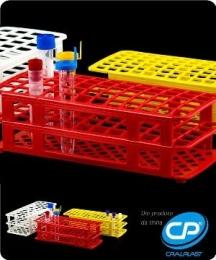 Estante para 60 Tubos de Ensaio 16mm Cor Amarela Cralplast