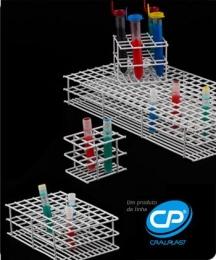 Estante para 100 Tubos de Ensaio de 21mm Arame Revestido em PVC Cralplast